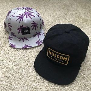 Skateboard Bundle of 2 Hats : Volcom & Huff : 420